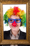 Funny clown girl with frame isolated Stock Image