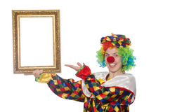 Funny clown girl with frame isolated on white Royalty Free Stock Images