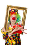 Funny clown girl with frame isolated on white Stock Images