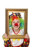 Funny clown girl with frame isolated on white Royalty Free Stock Photos