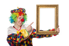 Funny clown girl with frame isolated on white Royalty Free Stock Image