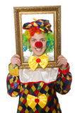 Funny clown girl with frame isolated on white Stock Image