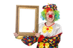 Funny clown girl with frame isolated on white Royalty Free Stock Photography