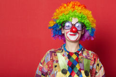 Funny clown with glasses on red Royalty Free Stock Photos
