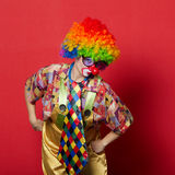 Funny clown with glasses on red Stock Photography