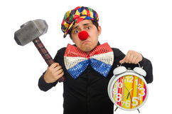 The funny clown with hammer and clock on white Stock Photos