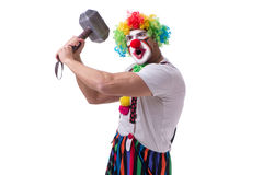 The funny clown with a hammer isolated on white background Stock Image