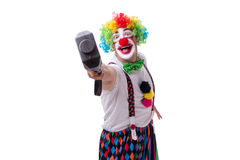 The funny clown with a hammer isolated on white background Stock Photo