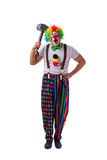 The funny clown with a hammer isolated on white background Royalty Free Stock Image