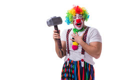 The funny clown with a hammer isolated on white background Stock Images