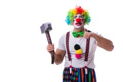 The funny clown with a hammer isolated on white background. Funny clown with a hammer isolated on white background Royalty Free Stock Photo