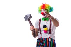 The funny clown with a hammer isolated on white background Stock Photography