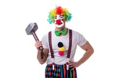 The funny clown with a hammer isolated on white background Stock Photos