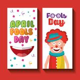Funny clown happy mouth april fools day banners. Vector illustration Royalty Free Stock Photos