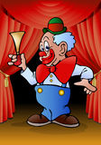 Funny clown hold horn performance Stock Photo
