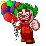 The funny clown holding balloons. Vector illustration. On isolated white background vector illustration