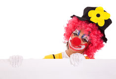Funny clown holding a banner Royalty Free Stock Images