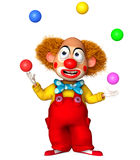Funny clown holding color balls Stock Photo