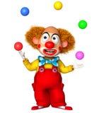 Funny clown holding color balls. 3d cartoon cute holiday clown  holding color balls Stock Photo