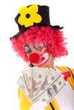Funny clown holding money Stock Photo
