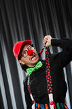 Funny clown in humorous concept. Against curtain stock images