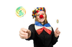 Funny clown isolated on white Royalty Free Stock Photos