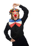 Funny clown isolated on white. The funny clown isolated on white stock photo