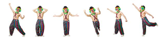 The funny clown isolated on the white background. Funny clown isolated on the white background stock photos