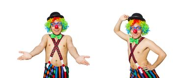 The funny clown isolated on the white background. Funny clown isolated on the white background stock photo