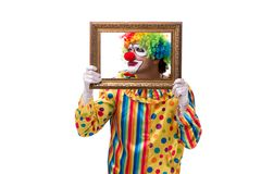 The funny clown isolated on white background. Funny clown isolated on white background royalty free stock photography