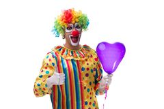 The funny clown isolated on white background. Funny clown isolated on white background stock photo