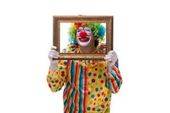 The funny clown isolated on white background. Funny clown isolated on white background royalty free stock photo
