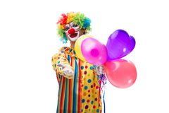 The funny clown isolated on white background. Funny clown isolated on white background royalty free stock images