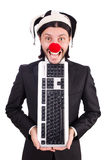 Funny clown with keyboard Stock Photo