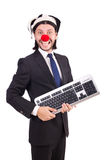 Funny clown with keyboard Stock Image