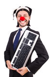 Funny clown with keyboard Royalty Free Stock Image