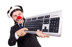 Funny clown with keyboard Royalty Free Stock Images