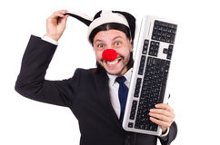Funny clown with keyboard Stock Images