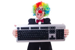 Funny clown with keyboard Royalty Free Stock Photo