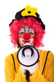 Funny clown with a megaphone Stock Image