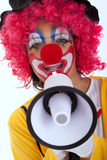 Funny clown with a megaphone Royalty Free Stock Image