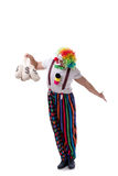 The funny clown with money bags sacks isolated on white background Royalty Free Stock Image