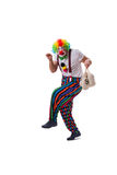 The funny clown with money bags sacks isolated on white background Stock Images