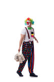 The funny clown with money bags sacks isolated on white background Royalty Free Stock Photography