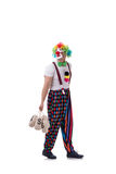 The funny clown with money bags sacks isolated on white background Stock Photo