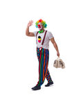 The funny clown with money bags sacks isolated on white background Stock Photos