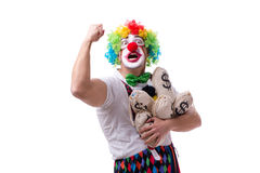 The funny clown with money sacks bags isolated on white background Stock Photography