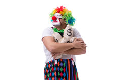 The funny clown with money sacks bags isolated on white background Royalty Free Stock Photos