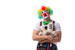 The funny clown with money sacks bags isolated on white background Stock Photos