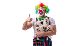 The funny clown with money sacks bags isolated on white background Royalty Free Stock Photography